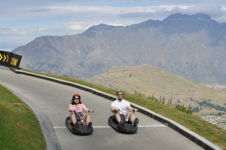 Safely riding the Luge with our 17 month old daugher in Queenstown, New Zealand!
