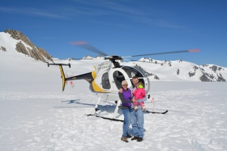 Landing on the Franz Joseph Glacier on Christmas Eve with our 17 month old daugher!