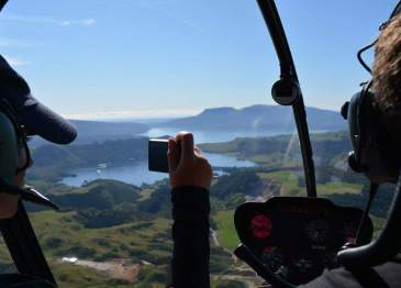 Taking a helicopter ride over Rotorua!